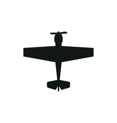 Simple black propeller plane icon on white vector