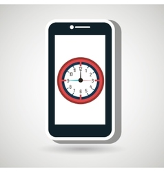 smartphone time clock icon vector image