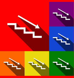 stair down with arrow set of icons with vector image