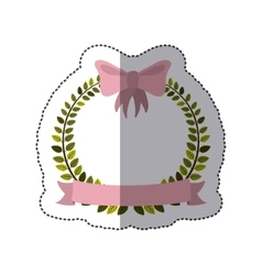 Sticker colorful arch of leaves with pink bow and vector