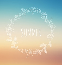 Summer background with floral wreaths vector