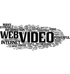 The power of web video text background word cloud vector