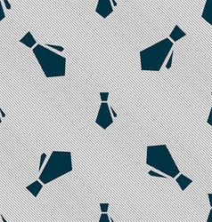 tie icon sign Seamless pattern with geometric vector image vector image