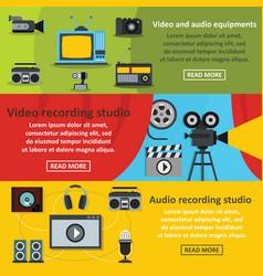 video audio tool banner horizontal set flat style vector image vector image