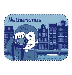 With dutch house in holland vector