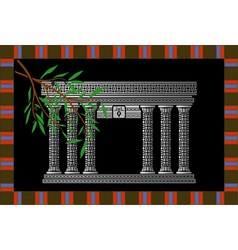 Fantasy phoenician temple and olive branch vector