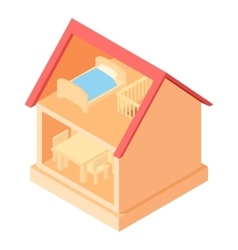 Toy house interior icon cartoon style vector