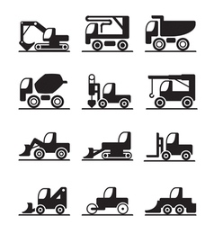 Construction trucks and vehicles vector
