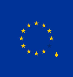 Abstract crying flag with drop european union eu vector