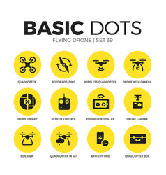 flying drone flat icons set vector image