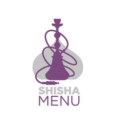 shisha bar menu logotype with hookah silhouette vector image