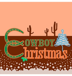 Cowboy christmas card background with text vector