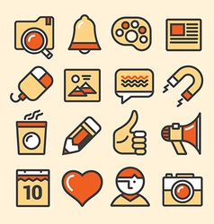 Outlined media icons set vector