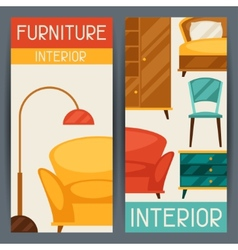 Interior vertical banners with furniture in retro vector