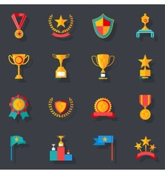 Flat design awards symbols and trophy icons set vector