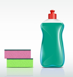 Plastic bottle with detergent and sponge vector