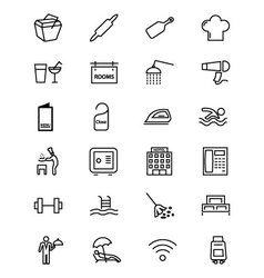 Hotel and restaurant line icons 2 vector