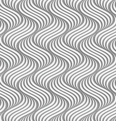 Paper cut out wavy ripples on gray vector