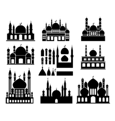 Islamic buildings silhouettes vector