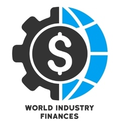 World industry finances icon with caption vector