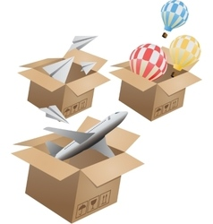 Set of flying object in carton box-02 vector