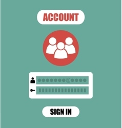 Member login form into account managment page ui vector