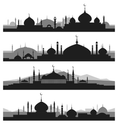 Islamic cityscape with mosque silhouettes vector