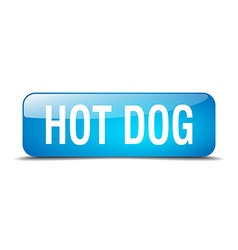 Hot dog blue square 3d realistic isolated web vector