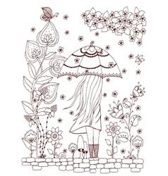 Zen tangle a girl with an vector