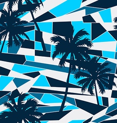 Abstract surf pattern with palm trees seamless vector
