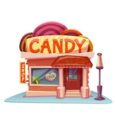 Candy shop building with bright banner vector image vector image