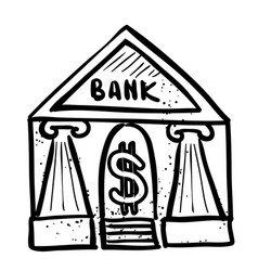 Cartoon image of bank icon government symbol vector