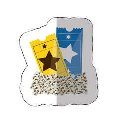 Color background sticker with popcorn and movie vector