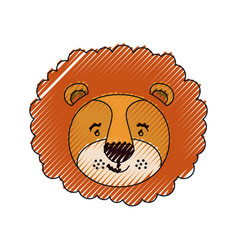 Color crayon silhouette face of male lion animal vector