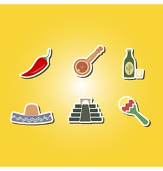 color icons with symbols of Mexico vector image