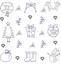 Doodle of christmas set hand draw vector image