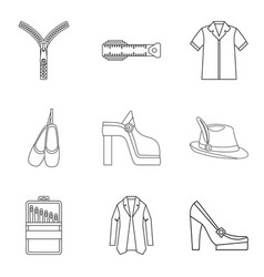 elegant clothes icon set outline style vector image vector image