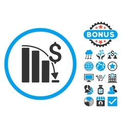 Epic fail chart flat icon with bonus vector