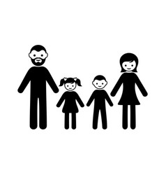 family icon with two children vector image vector image