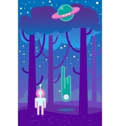 Flat about night landscape ufo vector image vector image