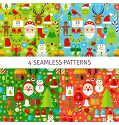 Four New Year Seamless Patterns vector image