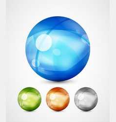 Glass sphere icons vector