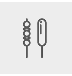 Grilled pork and hotdog thin line icon vector image