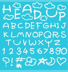 happy cloud fun doodle alphabet set vector image