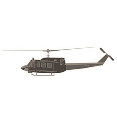 helicopter flat icon isolated aircraft side view vector image vector image