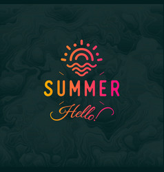 Hello summer vintage retro logotype ob vector