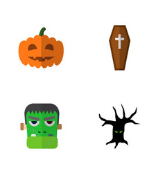 icon flat halloween set of tree monster zombie vector image vector image