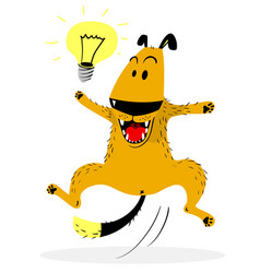 Laughing jumping dog idea lamp good mood and vector