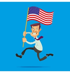 man with American flag vector image vector image