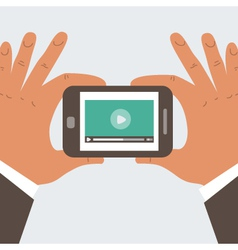 Mobile phone with video player vector image